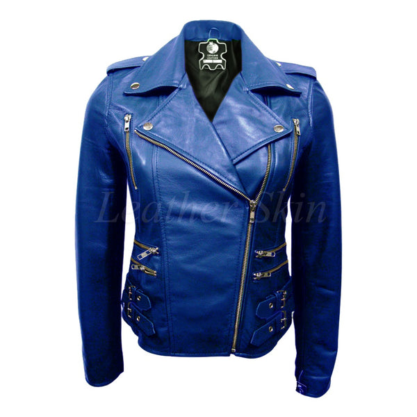 Plus Size Blue Leather Jacket