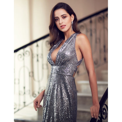 Cocktail & Party Dresses - Women's Trendy A-line Sequined   Floor Length Evening Gown