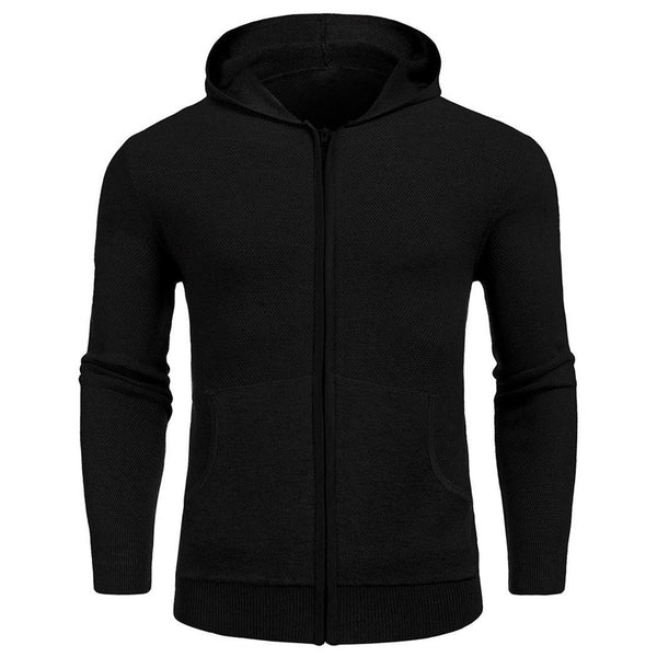 Black Hooded Long Sleeve Sweater