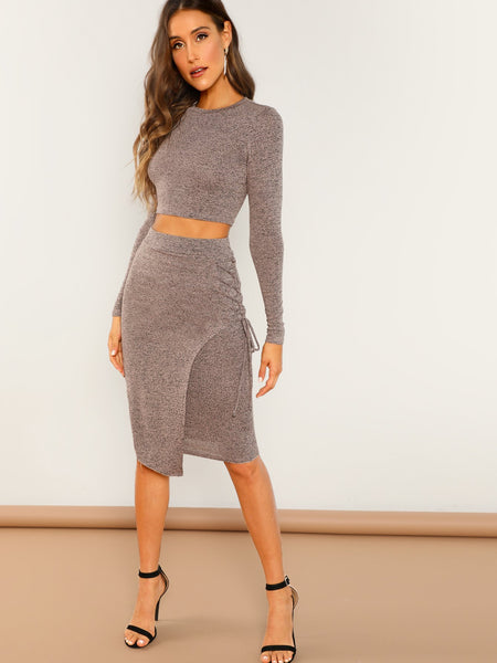 Pink Crop Long Sleeve Knit Top and Skirt Set
