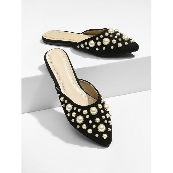 Black Pointed Toe Faux Pearl Decorated Mules