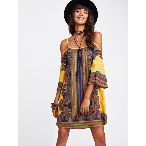Multicolor Tribal Print Shift Mini Dress