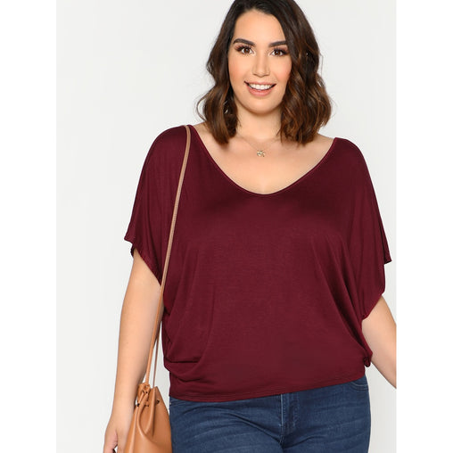 Plus Size Burgundy Cut Out Back Dolman Sleeve Tee