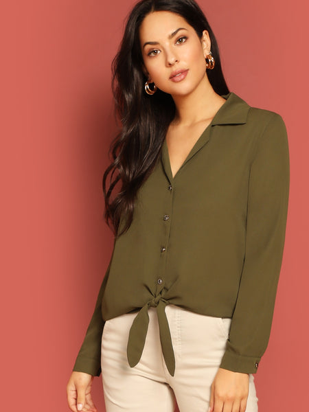 Army Green Knot Hem Buttoned Blouse