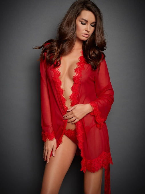 Red Lace Trim Belted Robe Set