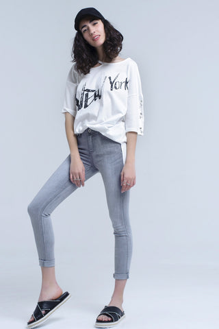 Skinny Jeans - Women's Trendy Grey Skinny Pocket Jeans