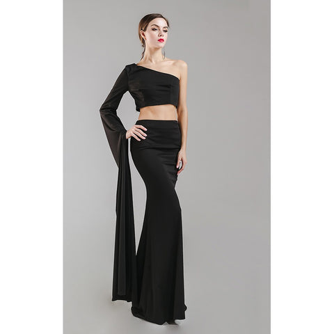 Black One Shoulder Evening Gown