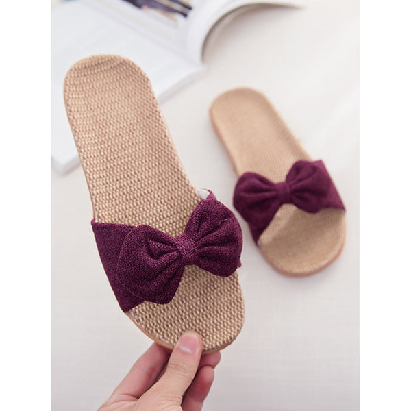 Purple Peep Toe Bow Slippers