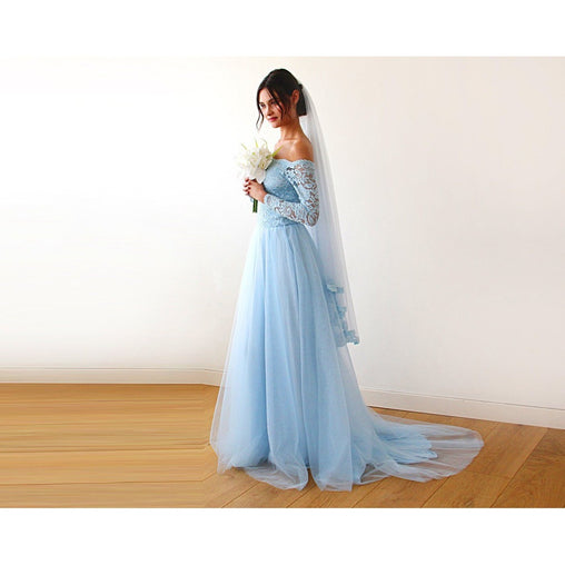 Blue Sleeves Long Lace Dress