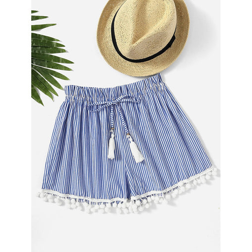 Vertical Striped Drawstring Waist Pompom Hem Shorts - Fashiontage