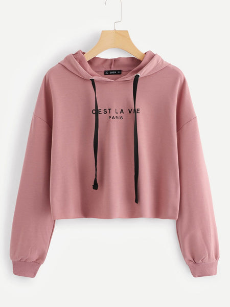 Pink Drop Shoulder Raw Hem Crop Hoodie