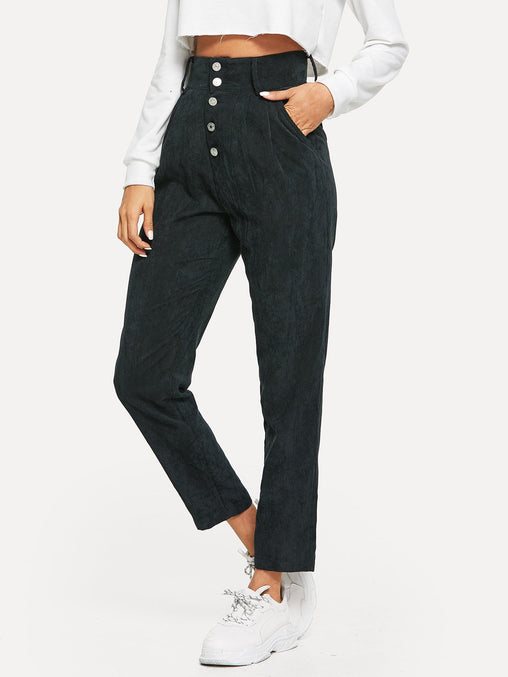 Black High Waist Button Fly Corduroy Tapered Pants