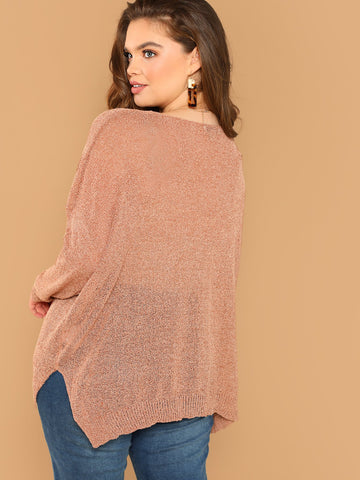 Cocktail & Party Dresses - Women's Trendy Plus Size Rust Semi Sheer Side Slit Knit Pullover Sweater