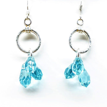 Sterling Silver Hammered Aqua Crystal Cascading Drop Earrings