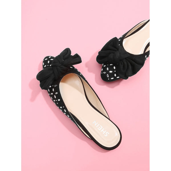 - Women's Trendy Black Pointed Toe Bow Decorated Rhinestone Mules