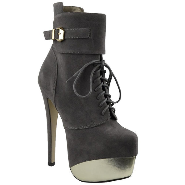 Gray Mid Calf Two Tone Platform Boots