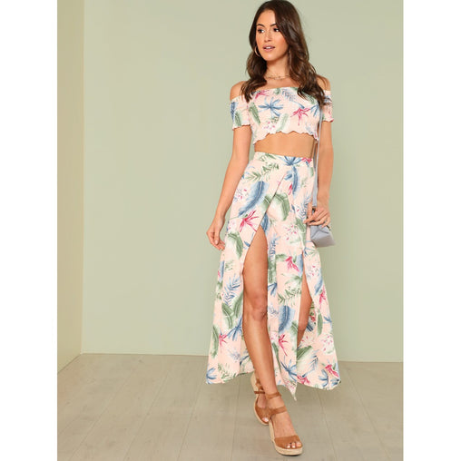 Multicolor Palm Leaf Print Top and Skirt Set