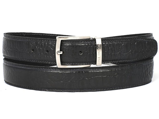 Black Crocodile Embossed Calfskin Leather Belt