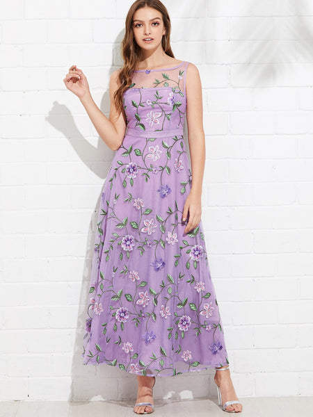 Purple  Floral Embroidered Mesh Overlay Dress