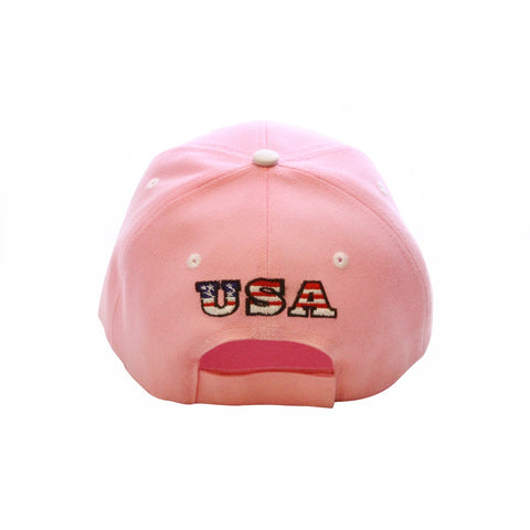 Pink Usa Embroidered Baseball Cap
