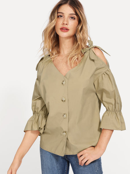 Khaki Cold Shoulder Knot Detail Solid Blouse