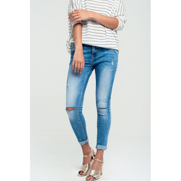 Blue Skinny Distressed Jeans