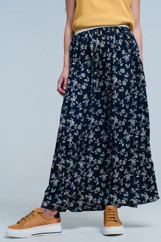 Waisted Skirts - Women's Trendy Blue Floral Print Long Skirt