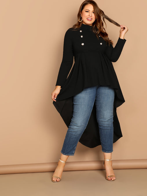 Plus Size Black Mock-neck Dip Hem Top