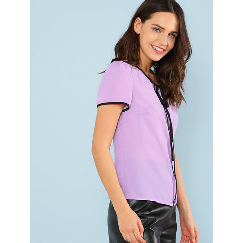Blouses - Women's Trendy Purple Round Neck Short Sleeve Shirt