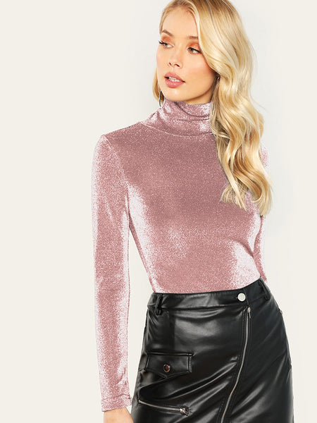 Pink High Neck Form Fitting Glitter T-Shirt