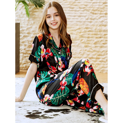 Multicolor Tropical And Pineapple Print Button Up Pajama Set