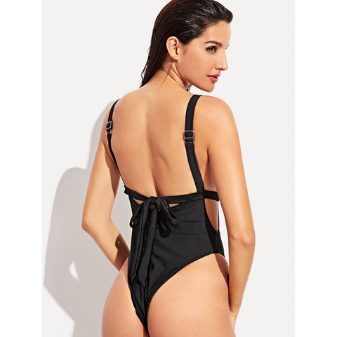 Swimsuits - Women's Trendy Black Cutout Plain Swimsuit