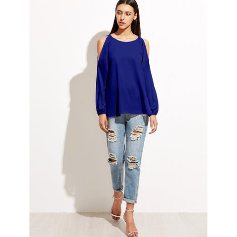 Sweatshirts - Women's Trendy Blue Open Shoulder Raglan Sleeve Top