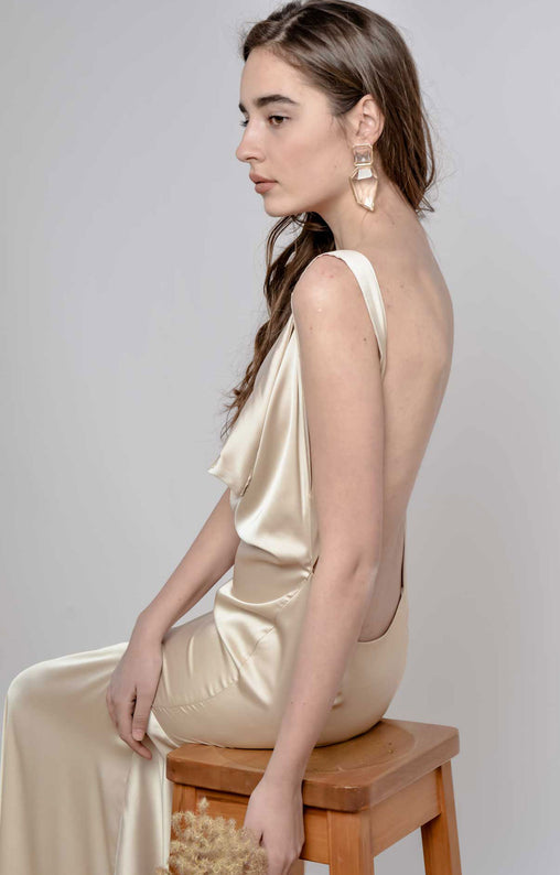 Beige Silk Satin Bridal Dress
