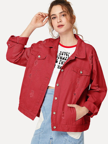 Burgundy Ripped Single Breasted Denim Jacket
