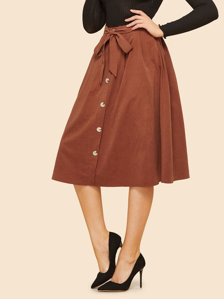 Brown Knot Front Button Up Midi Skirt