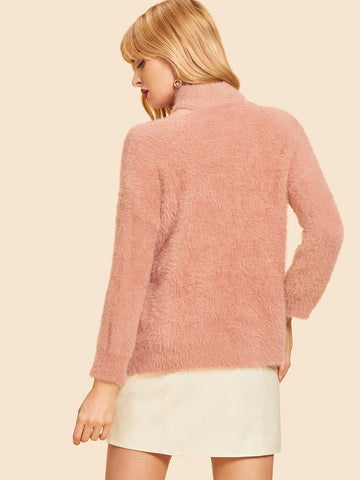 Pink Cut Out High Neck Solid Fluffy Sweater
