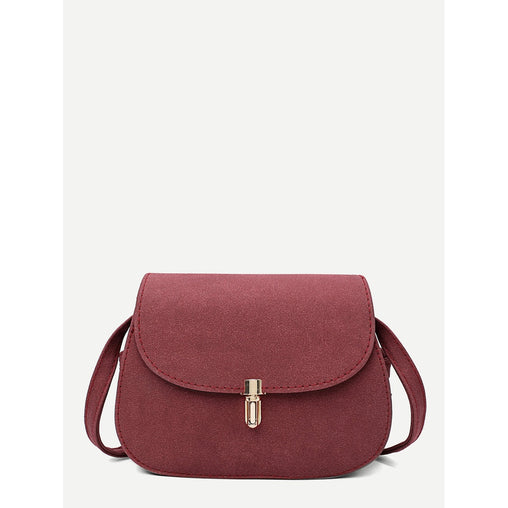 Burgundy Metal Detail Saddle Bag