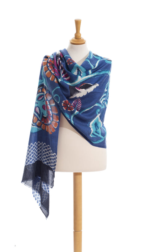 Night Flowers scarf in pure wool