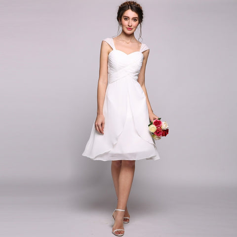Plus Size Dresses - Women's Trendy Plus Size White Sweetheart Kneelength Party Dress