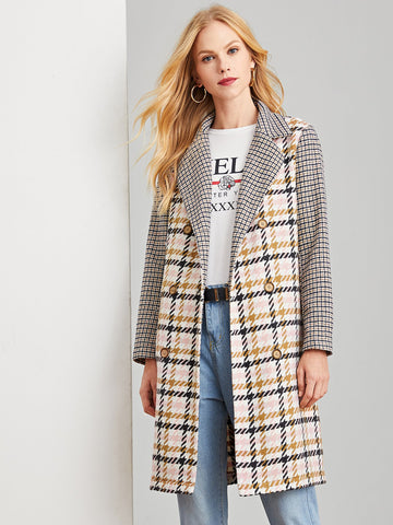Multicolor Double Breasted Notched Neck Plaid Coat