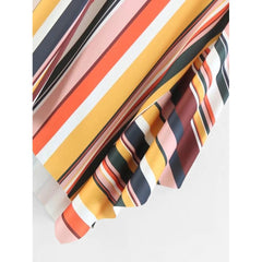Multicolor Stripe Long Full Asymmetric Skirt - Fashiontage