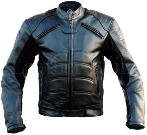 Black Batman Style Padded Leather Jacket