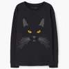 Sweatshirts - Women's Trendy Black Print Cotton Sweatshirt