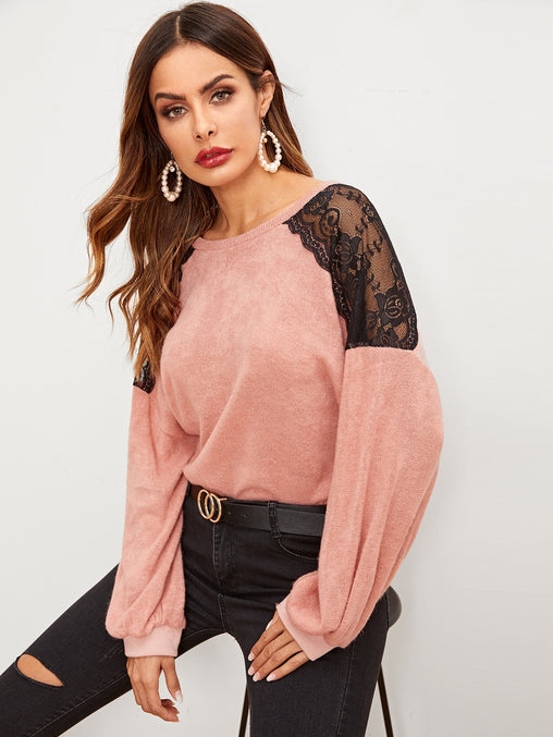 Pink Contrast Mesh Drop Shoulder Sweater