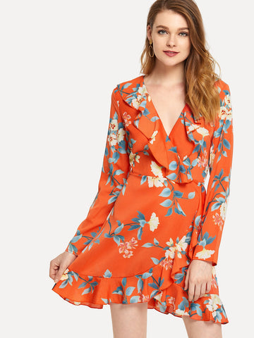 Orange Floral Print Ruffle Dress