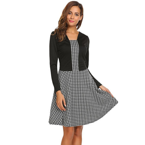 Cocktail & Party Dresses - Women's Trendy Dark Gray Square Neck Long Sleeve Party Dress