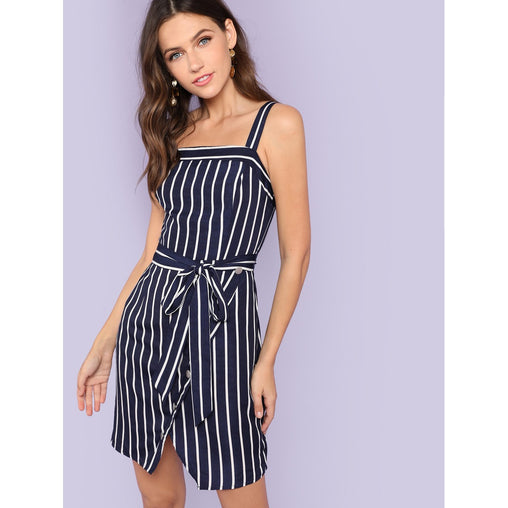 Navy Self Belted Wrap Split Front Striped Dress