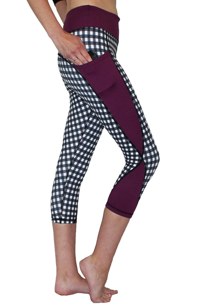 Purple Checker Pocket Capri Activewear Bottom