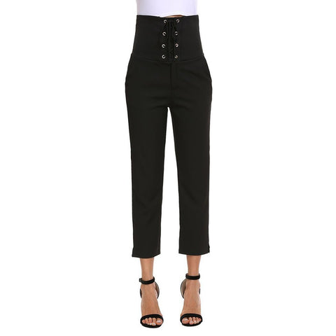 Cropped Pants - Women's Trendy Black Polyester Wrap Nightwear